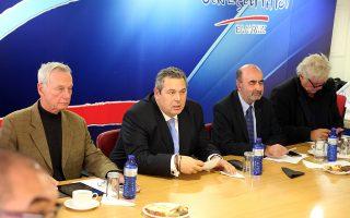 Ο πρόεδρος των ΑΝΕΛ και ΥΕΘΑ Πάνος Καμμένος (3-Δ) προεδρεύει στη σημερινή κοινή συνεδρίαση Κοινοβουλευτικής Ομάδας και Εκτελεστικής Επιτροπής των Ανεξάρτητων Ελλήνων, Δευτέρα 29 ιανουαρίου 2018. ΑΠΕ-ΜΠΕ/ΑΠΕ-ΜΠΕ/Αλέξανδρος Μπελτές