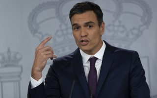 Spanish Prime Minister Pedro Sanchez talks to journalists during a joint news conference France's President Emmanuel Macron following their meeting at the Moncloa palace in Madrid, Thursday, July 26, 2018. (AP Photo/Francisco Seco)