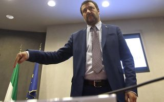Interior Minister Matteo Salvini arrives for a press conference at the Interior Ministry in Rome, Wednesday, Nov. 7, 2018. (AP Photo/Alessandra Tarantino)