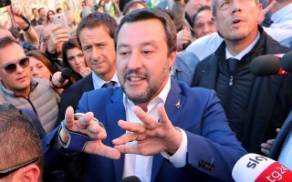 FILE PHOTO: Italian Interior Minister Matteo Salvini visits a place where a young girl was murdered, in Rome, Italy October 24, 2018. REUTERS/Alessandro Bianchi/File Photo