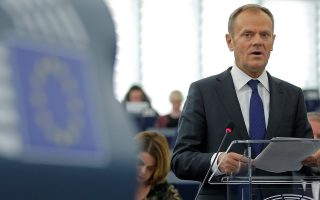 European Council President Donald Tusk delivers a speech during a debate on the last December European summit and Brexit at the European Parliament in Strasbourg, France, January 16, 2018.  REUTERS/Vincent Kessler