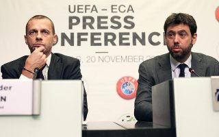 UEFA και Ενωση Ευρωπαϊκών Συλλόγων (στη φωτογραφία οι πρόεδροί τους κ. Τσέφεριν και Ανιέλι) έσπευσαν να ανανεώσουν τη συνεργασία τους μέχρι το 2023 υπό τις διαρροές που αφορούσαν τη δημιουργία μιας ποδοσφαιρικής Ευρωλίγκας. Μια βραχυπρόθεσμη συμφωνία με πολλά «αλλά»...