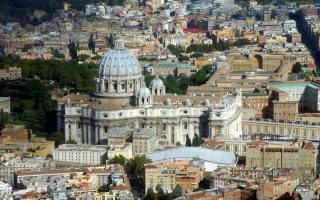 ** FILE ** An  aerial view of the Vatican with St. Peter's Basilica is seen in this 2003 file photo made available Friday Feb. 4, 2005. The