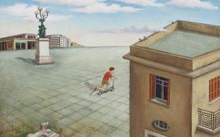 Νίκου Αγγελίδη «Παλιά, στην Κυψέλη», από την ομαδική έκθεση «Αθήνα Ενδοχώρα» σε επιμέλεια Νίκου Βατόπουλου, στον χώρο τέχνης «Μετς», Ευγενίου Βουλγάρεως 6, στο Μετς.