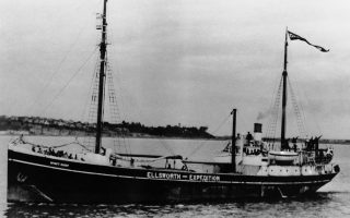 """The """"Wyatt Earp,"""" Dr. Lincoln Ellsworth's ship, as it sailed from Wellington, New Zealand  Dec. 12, 1933 for the ant-Arctic. Since that time the ship has undergone many trials, having been reported  Jan. 13, 1934 as being cast adrift in the Bay of Whales-Antarctic-by Shelf Ice. None was injured. (AP Photo)"""