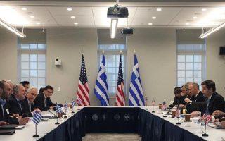 Οι αντιπροσωπείες Ελλάδας - ΗΠΑ, υπό τον αναπληρωτή υπουργό Εξωτερικών Γ. Κατρούγκαλο και τον υφυπουργό Εξωτερικών των ΗΠΑ Γουές Μίτσελ.