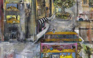«Μια τυπική ημέρα», από τη δεύτερη ατομική έκθεση ζωγραφικής της Αγγελικής Ξυνού στην Αίθουσα Τέχνης Αθηνών, Γλύκωνος 4, Αθήνα. Εως τις 12 Ιανουαρίου.