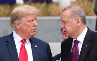 Ο Αμερικανός πρόεδρος Τραμπ και ο Τούρκος ομόλογός του Ερντογάν σε περιοδεία τους στο νέο αρχηγείο του ΝΑΤΟ στις Βρυξέλλες τον περασμένο Ιούνιο.