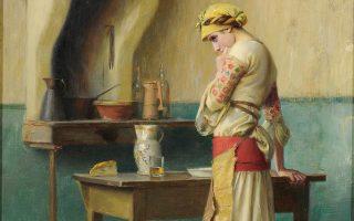 «Ο πρώτος μπάτσος». Πίνακας (1908-1909) του Θεοδώρου Ράλλη από την έκθεση «Αρωμα γυναίκας στην ελληνική ζωγραφική» του Ιδρύματος Θεοχαράκη. Διάρκεια: 7 Νοεμβρίου 2018 έως 3 Φεβρουαρίου 2019. Μέρλιν 1, Αθήνα.