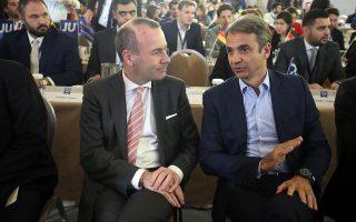 Ο Κυριάκος Μητσοτάκης σε παλαιότερη συνάντηση με τον υποψήφιο του Ευρωπαϊκού Λαϊκού Κόμματος για την προεδρία της Κομισιόν Μάνφρεντ Βέμπερ, ο οποίος θα δώσει το «παρών» στο 12ο συνέδριο της Ν.Δ.