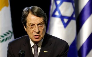 Cypriot President Nicos Anastasiades speaks as he delivers a joint statement with Israeli Prime Minister Benjamin Netanyahu and Greek Prime Minister Alexis Tsipras during an event at Carasso Science Park in Beersheba, Israel December 20, 2018. REUTERS/Amir Cohen