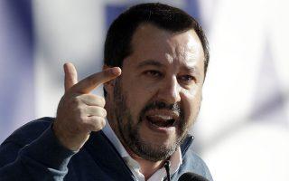 Deputy-Premier and leader of the League party Matteo Salvini addresses a rally in Rome's Piazza del Popolo, Saturday, Dec. 8, 2018. (AP Photo/Gregorio Borgia)