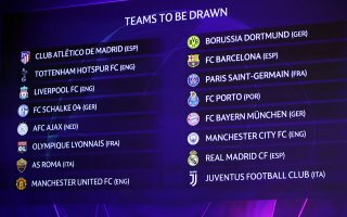 Soccer Football - Champions League - Round of 16 Draw - Nyon, Switzerland - December 17, 2018   General view of the 16 club names displayed before thedraw   REUTERS/Denis Balibouse