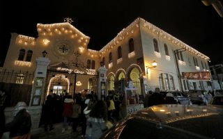 epa07239223 A church is seen decorated with lights in the mostly Christian-populated Bab Tuma neighborhood in the old city of Damascus, Syria, 18 December 2018, as part of the Christmas celebration preparations.  EPA/YOUSSEF BADAWI