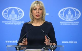 epa06664999 (FILE) - Maria Zakharova, the Russian Foreign Ministry's spokeswoman, addresses the media during a briefing in Moscow, Russia, 29 March 2018 (reissued 12 April 2018). , 'The threat to use force against a UN member state is, in itself, a blatant violation of the UN organization's charter', Zakharova said on 12 April 2018.  EPA/MAXIM SHIPENKOV