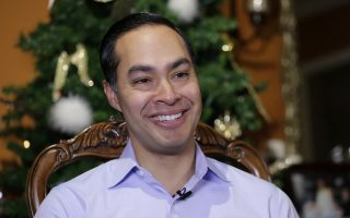 Democrat Julian Castro talks about exploring the possibility of running for president in 2020, at his home in San Antonio, Tuesday, Dec. 11, 2018.  The announcement Wednesday gives the 44-year-old Castro a jump-start on what's likely to be a crowded Democratic primary field that has no clear front-runner. He tells The Associated Press he plans to announce his ultimate decision in early January.  (AP Photo/Eric Gay)