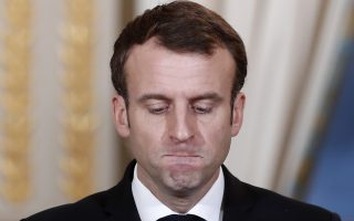 French President Emmanuel Macron pauses before answering as he attend a media conference with Burkina Faso's President Roch Marc Christian Kabore at the Elysee Palace in Paris, France, Monday, Dec. 17, 2018. Burkina Faso's President Roch Marc Christian Kabore is in Paris for bilateral talks. (/Benoit Tessier/Pool Photo via AP)