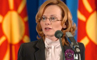 Macedonia's deputy prime minister Radmila Sekerinska talks at a press conference in the Government buildings in the capital Skopje on Wednesday, Nov. 9, 2005, upon the European Commission's recommendation Wednesday that EU governments declare the country a candidate for membership.