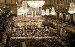 Overview of the traditional New Year's concert of the Vienna Philharmonic Orchestra conducted by Italian Maestro Riccardo Muti at the golden hall of Vienna's Musikverein, Austria, Monday, Jan. 1, 2018. (AP Photo/Ronald Zak)