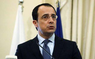 Ο νέος υπουργός Εξωτερικών της Κυπριακής Δημοκρατίας Νίκος Χριστοδουλίδης  κάνει δηλώσεις στους δημοσιογράφους μετά τις διευρυμένες συνομιλίες που είχε με τον υπουργό Εξωτερικών Νίκο Κοτζιά (δεν εικονίζεται) στο υπουργείο Εξωτερικών, Δευτέρα 5 Μαρτίου 2018. ΑΠΕ-ΜΠΕ/ΑΠΕ-ΜΠΕ/ΑΛΕΞΑΝΔΡΟΣ ΒΛΑΧΟΣ