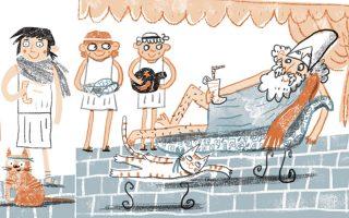Μέσα από τις σελίδες του βιβλίου, εικονογραφημένες από την Ιφιγένεια Καμπέρη, τα παιδιά θα μάθουν για την Αθήνα του Χρυσού Αιώνα, τον Αριστοφάνη, τον Φειδία, τον Αλκιβιάδη, τον εξοστρακισμό, τα θεωρικά κ.ά.