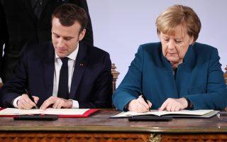 Ο Γάλλος πρόεδρος Μακρόν και η Γερμανίδα καγκελάριος Μέρκελ ανανέωσαν την ιστορική συνθήκη Ντε Γκωλ - Αντενάουερ, η οποία υπεγράφη πριν από 56 χρόνια.