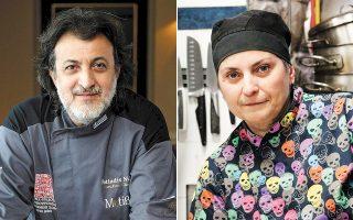 Αριστερά, ο σεφ Νικόλαος Φωτιάδης, πρωτεργάτης και υπεύθυνος της ομάδας «Μπριγάδα» και δεξιά η σεφ Μάρω Διακάτου.