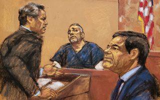 Σκίτσο από τη δίκη απεικονίζει την εξέταση του Αλεξ Σιφουέντες από τον δικηγόρο του «Ελ Τσάπο» Τζ. Λίχτμαν.