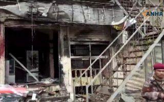 Εικόνες από βίντεο μετά την επίθεση βομβιστή αυτοκτονίας στο Μανμπίτζ.