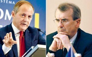 Δύο από τους επικρατέστερους υποψηφίους για τη διαδοχή του Μάριο Ντράγκι στην ηγεσία της ΕΚΤ, οι Γάλλοι Μπενουά Κερέ (αριστερά) και Φρανσουά Βιλερουά ντε Γκαλό (δεξιά), τόνισαν πως η Τράπεζα εξακολουθεί να αξιολογεί το βάθος της επιβράδυνσης στην Ευρωζώνη.