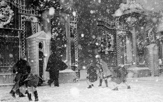 Με το χριστουγεννιάτικο κλίμα να είναι ακόμα ζωντανό, παρότι το τέλος της εορταστικής περιόδου πλησιάζει, παιδία έχουν μετατρέψει την πύλη των ανακτόρων του Μπάκιγχαμ σε πεδίο «μάχης», εκσφενδονίζοντας με μανία χιονόμπαλες το ένα στο άλλο, με τους αξιωματικούς της πύλης να μην παρεμβαίνουν στον παδικό χιονοπόλεμο, το 1955. (AP Photo/Staff/Sidney Smart)