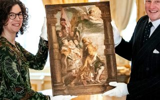 epa07286494 Art historian Emilie den Donkelaar (L) and Willem Jan Hoogsteder display an oil sketch by Pieter Paul Rubens at the art dealership Hoogsteder and Hoogsteder in The Hague, The Netherlands, 15 January 2019. The has been discovered and work has been given the name 'The secular hierarchy in worship'. Pieter Paul Rubens (1577 - 1640) was a South Netherlands painter of Flemish baroque, draughtsman and diplomat, working in Antwerp.  EPA/REMKO DE WAAL