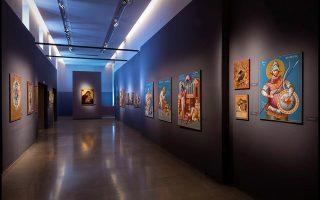 Η αίθουσα στο Βυζαντινό και Χριστιανικό Μουσείο, στην οποία παρουσιάζεται η έκθεση αγιογραφίας του Γρηγόρη Μπαλογιάννη.