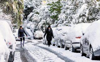 Χιονισμένο τοπίο χθες στον Χολαργό. Η κακοκαιρία συνεχίζεται, με πρωταγωνίστρια αυτή τη φορά την «Υπατία».