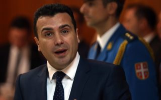 epa06341791 Zoran Zaev (R), the Prime Minister of the Former Yugoslav Republic of Macedonia (FYROM), addresses a news conference after his meeting  with his Serbian counterpart Ana Brnabic (not in picture) in Belgrade, Serbia, 21 November 2017. Zoran Zaev is in Serbia on an official visit.  EPA/KOCA SULEJMANOVIC
