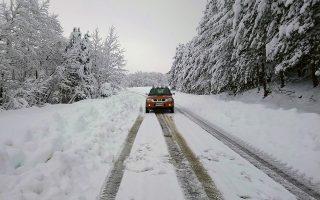 Χιονόπτωση σημειώθηκε στους ορεινούς οικισμούς Δήμου Ιστιαίας-Αιδηψού στη Βόρεια Εύβοια, Σάββατο 5 Ιανουαρίου 2019. Η κακοκαιρία