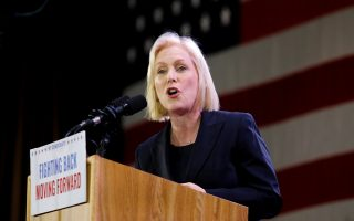 FILE PHOTO: Democratic senator Kirsten Gillibrand addresses the crowd after news of her reelection at the midterm election night party in New York City, U.S. Nov. 6, 2018.  REUTERS/Caitlin Ochs/File Photo