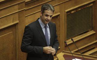 Ο βουλευτής της ΝΔ Κυριάκος Μητσοτάκης, μιλάει από το βήμα της ολομέλειας κατά τη διάρκεια της συζήτησης επί των Προγραμματικών Δηλώσεων της Κυβερνήσεως στη Βουλή, Τρίτη 6 Οκτωβρίου 2015. Συνεχίζεται σήμερα και αύριο η ανάγνωση των προγραμματικών δηλώσεων της κυβέρνησης, με τοποθετήσεις υπουργών και βουλευτών, μετά τη χθεσινοβραδινή εναρκτήρια ομιλία του πρωθυπουργού Αλέξη Τσίπρα. Η διαδικασία ολοκληρώνεται τα μεσάνυχτα της Τετάρτης, οπότε η κυβέρνηση λαμβάνει ψήφο εμπιστοσύνης με φανερή ονομαστική ψηφοφορία. ΑΠΕ-ΜΠΕ/ΑΠΕ-ΜΠΕ/ΓΙΑΝΝΗΣ ΚΟΛΕΣΙΔΗΣ