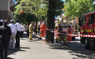 Hazmat and fire crews are seen outside the Indian and French Consulates on St Kilda Road in Melbourne, Australia, January 9, 2019. Staff have been evacuated as emergency crews respond to a number of incidents involving foreign consulates in Melbourne. AAP Image/Kaitlyn Offer via REUTERS  ATTENTION EDITORS - THIS IMAGE WAS PROVIDED BY A THIRD PARTY. NO RESALES. NO ARCHIVE. AUSTRALIA OUT. NEW ZEALAND OUT.     TPX IMAGES OF THE DAY