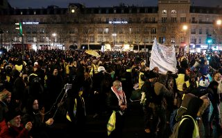 Protesters wearing yellow vests gather at the Place de la Republique for a so-called