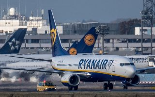 epa05613787 An airplane from the Irish discount airline Ryanair taxis at the airport in Frankfurt am Main,Germany, 02 November 2016. Starting next year, Ryanair wants to compete with Lufthansa at its central hub and offer regular connections from Frankfurt.  EPA/Boris Roessler