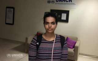 Rahaf Mohammed al-Qunun, an 18-year-old Saudi woman who fled her family, is pictured in the United Nations High Commissioner for Refugees (UNHCR) building Bangkok, Thailand, January 11, 2019, before leaving for the airport, after she was granted asylum in Canada. Khaled Ibrahim/UNHCR/Handout via REUTERS THIS IMAGE HAS BEEN SUPPLIED BY A THIRD PARTY. NO RESALES. NO ARCHIVES.