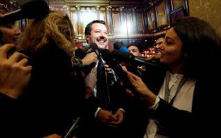 FILE PHOTO: Interior Minister Matteo Salvini speaks to the media at the Senate in Rome, Italy, November 6, 2018.  REUTERS/Remo Casilli/File Photo
