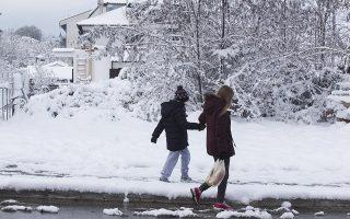 Στα  λευκά ντύθηκε ο Χορτιάτης από την ισχυρή χιονόπτωση, Τετάρτη 30 Νοεμβρίου 2016. ΑΠΕ ΜΠΕ/STR/ PIXEL
