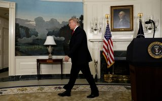 U.S. President Donald Trump leaves after delivering remarks on border security and the partial shutdown of the U.S. government from the Diplomatic Room at the White House in Washington, U.S., January 19, 2019. REUTERS/Yuri Gripas