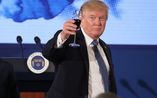U.S. President Donald Trump and South Korean President Moon Jae-in toast at the start of a dinner at the Blue House in Seoul, South Korea, Tuesday, Nov. 7, 2017. Trump is on a five country trip through Asia traveling to Japan, South Korea, China, Vietnam and the Philippines. (AP Photo/Andrew Harnik)