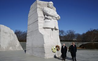 President Donald Trump, right, and Vice President Mike Pence, left, visit the Martin Luther King Jr. Memorial, Monday, Jan. 21, 2019, in Washington. (AP Photo/ Evan Vucci)