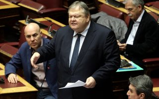 Ο βουλευτής του ΚΙΝΑΛ Ευάγγελος Βενιζέλος μιλάει στη συζήτηση στην Ολομέλεια της Βουλής του σχεδίου νόμου: «Κύρωση του Μνημονίου Συνεργασίας μεταξύ του Ανώτατου Συμμαχικού Διοικητή Μετασχηματισμού (SACT) και του Υπουργείου Εθνικής Άμυνας της Ελληνικής Δημοκρατίας, σχετικά με την τοποθέτηση Εθνικού Αντιπροσώπου Συνδέσμου στο Στρατηγείο της Ανώτατης Συμμαχικής Διοίκησης Μετασχηματισμού και των ανταλλαγεισών επιστολών περί παράτασης της ισχύος του ανωτέρω Μνημονίου», Αθήνα, Τετάρτη 09 Ιανουαρίου 2019. ΑΠΕ-ΜΠΕ/ΑΠΕ-ΜΠΕ/ΣΥΜΕΛΑ ΠΑΝΤΖΑΡΤΖΗ