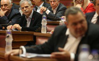 Ο ανεξάρτητος βουλευτής Σπύρος Δανέλης (2Α) στη σημερινή συνεδρίαση της Διαρκούς Επιτροπής  Εξωτερικών Υποθέσεων & Άμυνας στην αίθουσα της Γερουσίας,  με θέμα ημερήσιας διάταξης: Επεξεργασία και εξέταση του σχεδίου νόμου του Υπουργείου Εξωτερικών «Κύρωση της Τελικής Συμφωνίας για την Επίλυση των Διαφορών οι οποίες περιγράφονται στις Αποφάσεις του Συμβουλίου Ασφαλείας των Ηνωμένων Εθνών 817(1993) και 845(1993), τη Λήξη της Ενδιάμεσης Συμφωνίας του 1995 και την Εδραίωση Στρατηγικής Εταιρικής Σχέσης μεταξύ των Μερών», Δευτέρα 21 Ιανουαρίου 2019.  ΑΠΕ-ΜΠΕ/ΑΠΕ-ΜΠΕ/Αλέξανδρος Μπελτές
