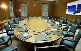 Η αίθουσα του Υπουργικού Συμβουλίου. Ο πρωθυπουργός έχει την ευθύνη για την εποπτεία των υπουργών του.